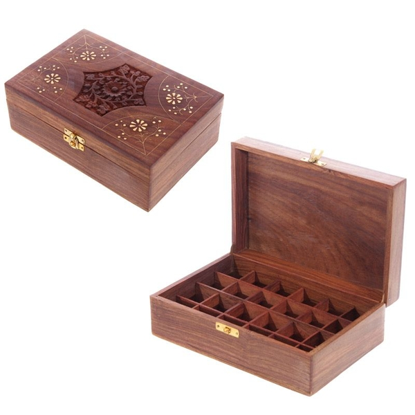 Sheesham Wood Floral Compartment Box Large