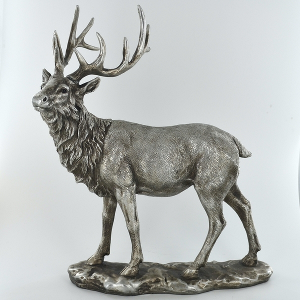 Antique Silver Stag Gazing Ornament