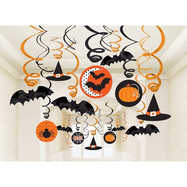 Hats And Bats Hanging Swirls Halloween Decoration