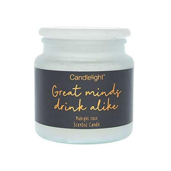 Large Frosted Glass Wax Filled Jar 'Great Minds Drink Alike' - Midnight Rose Scent