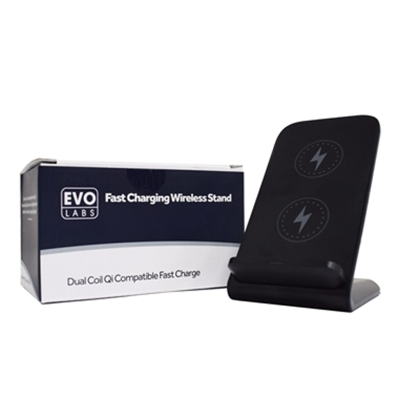 Universal Dual Coil Fast Charging QI Wireless Charging Stand Black.