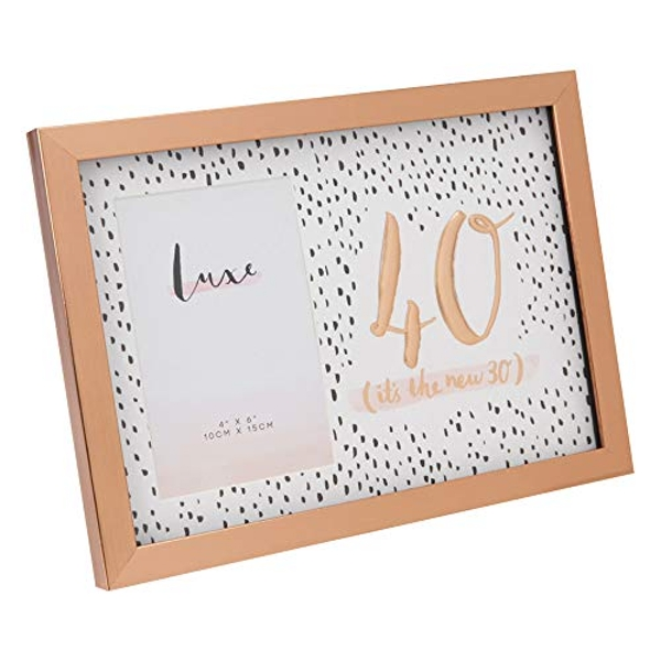 """4"""" x 6"""" - Luxe Rose Gold Birthday Frame - 40"""