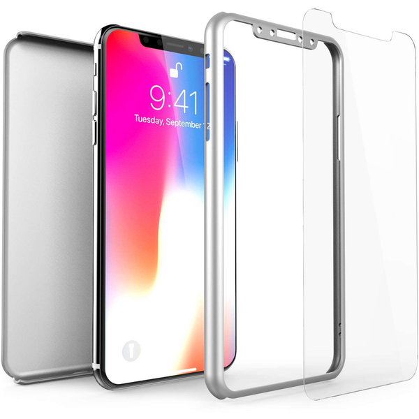 Compare prices with Phone Retailers Comaprison to buy a Apple iPhone X Shockproof Hybrid 360 With Glass Screen Protector - Silver