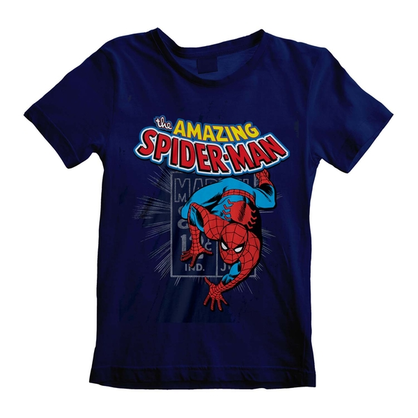 Marvel Comics Spider - Amazing Spider-Man Unisex 7-8 Years T-Shirt - Navy