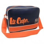 Lee Cooper Caine Flight Messenger Bag Black and Orange