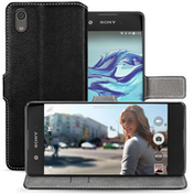 Sony Xperia XA1 (2017) PU Leather Slim Wallet Stand Case - Black