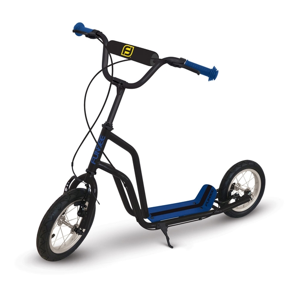 Funbee - Cross Scooter with 12-Inch Inflatable Tires and Double Brake (Black/Blue)