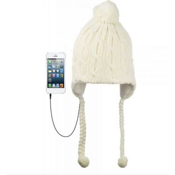 fdbf0eae38d KitSound Audio Peruvian Cable Knit Beanie Hat with Pom Pom and Built-In On-