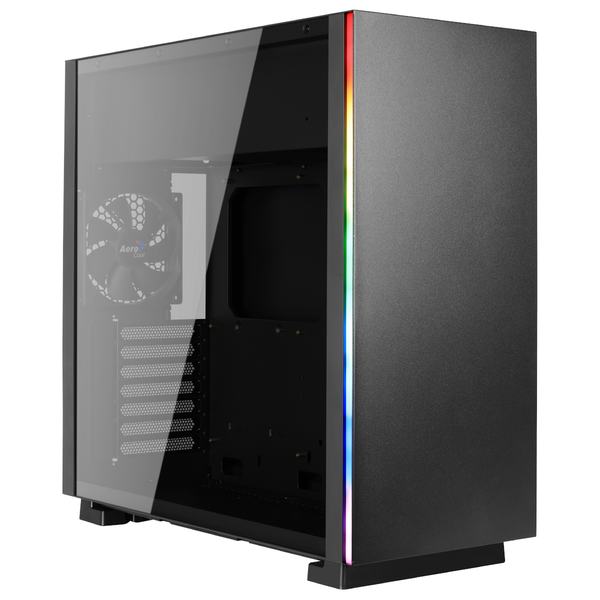 Aerocool Glo RGB Mid-Tower Case - Black Tempered Glass