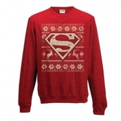 Superman Unisex Large Christmas Jumper - Red