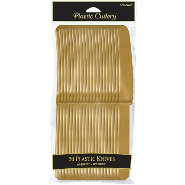 Washable Reusable Plastic Knives Gold (Pack Of 20)
