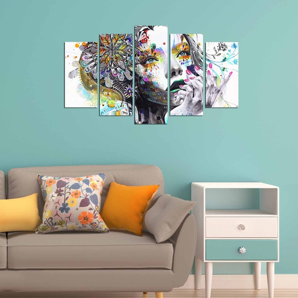 ABSW-01 Multicolor Decorative MDF Painting (5 Pieces)