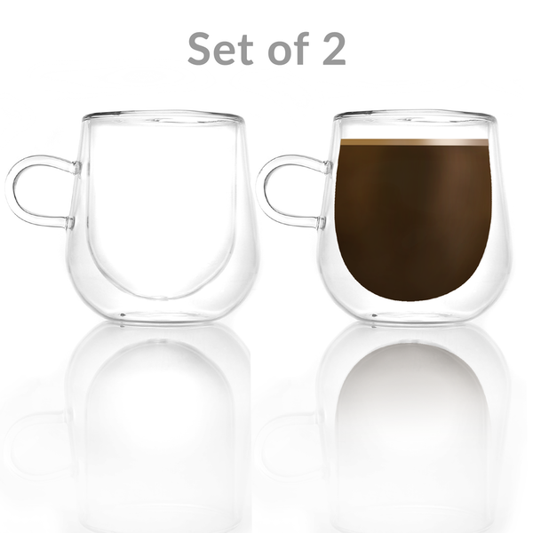 Set of 2 Double Walled Insulated 275ml Mugs | Heat Resistant Coffee Glasses M&W - Image 2
