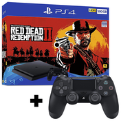 PlayStation 4 (500GB) Black Console with Red Dead Redemption 2 + Extra Dualshock