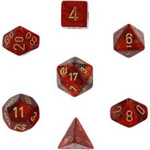 Chessex Poly 7 Dice Set: Scarab Scarlet/gold