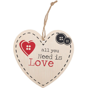All You Need Is Love Hanging Heart Sign