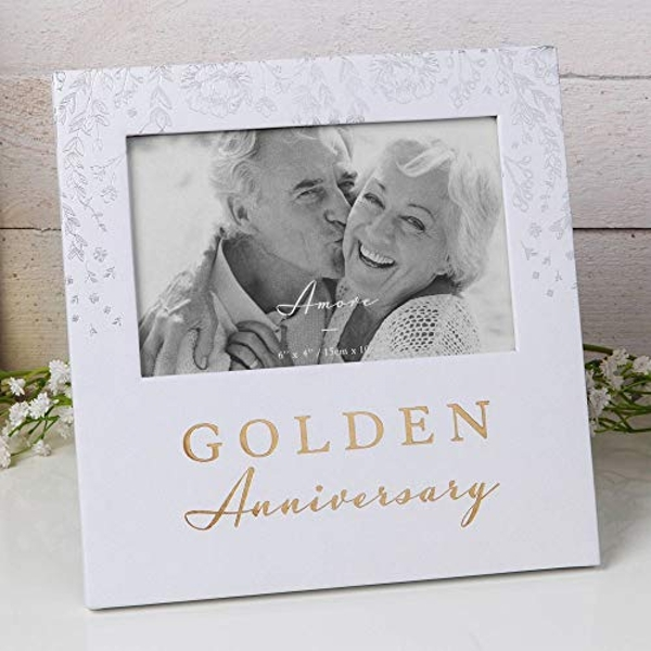 """6"""" x 4"""" - AMORE BY JULIANA? Photo Frame - Golden Anniversary"""
