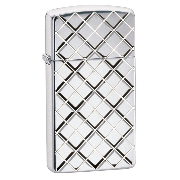 Zippo Unisex Slim Armor Argyle High Polished Chrome