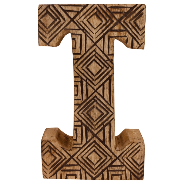 Letter I Hand Carved Wooden Geometric