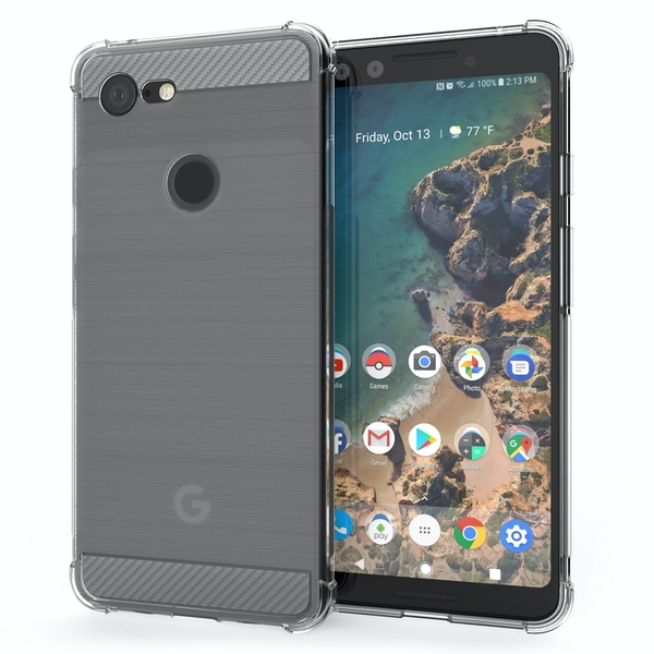 CASEFLEX GOOGLE PIXEL 3 CARBON ANTI FALL TPU CASE - CLEAR