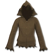 Gothic Elegance Zig Zag Hem Full Zip Women's Medium Hoodie - Brown