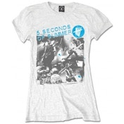 5 Seconds of Summer Live Collage Ladies White T Shirt X-Large
