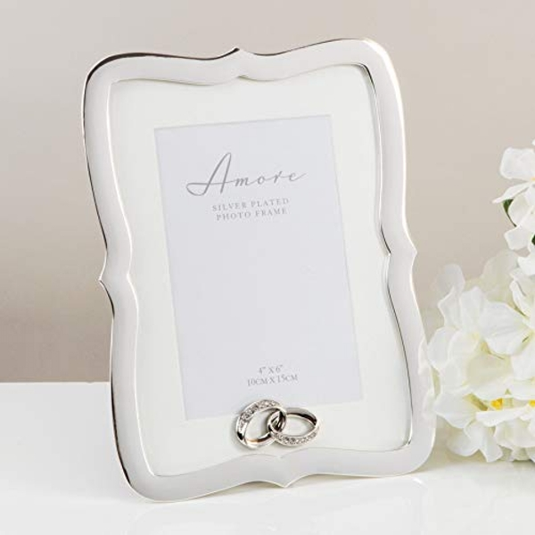 """4"""" x 6"""" - AMORE BY JULIANA? Silver Frame with Crystal Rings"""