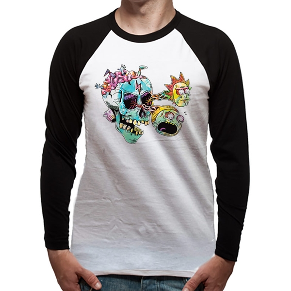 Rick And Morty - Skull Eyes Men's Large Baseball T-Shirt- White