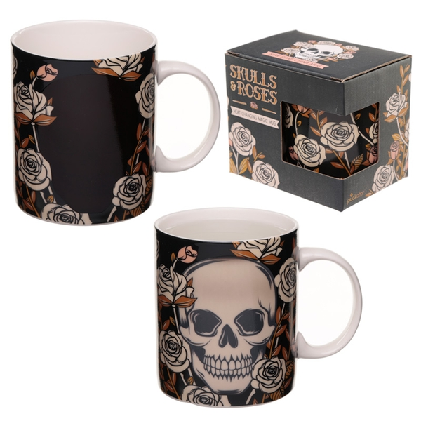 Skulls and Roses Heat Colour Changing New Bone China Mug