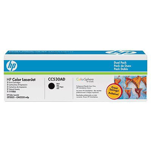 HP CC530AD (304A) Toner black, 3.5K pages @ 5% coverage, Pack qty 2 - Image 2
