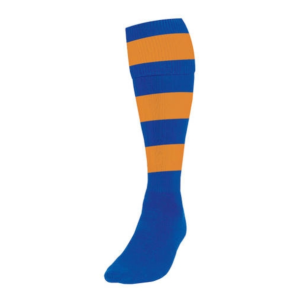 Precision Hooped Football Socks Mens Royal/Amber UK Size 7-11