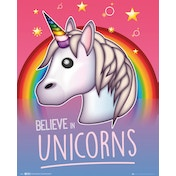 Emoji I Believe In Unicorns Mini Poster