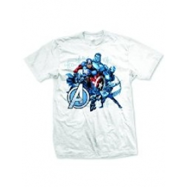 Avengers Group Assemble Mens White T-Shirt X Large