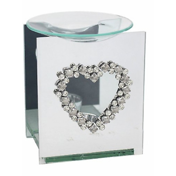 Mirror Diamante Wax Melter With Diamante Heart Design By Lesser & Pavey