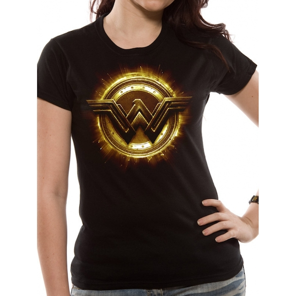 Justice League Movie - Wonder Woman Symbol Women's Large T-Shirt - Black