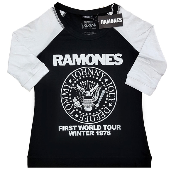 Ramones - First World Tour 1978 Ladies Large T-Shirt - Black,White