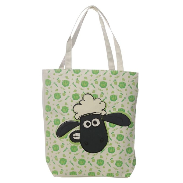 Shaun the Sheep Food Pattern Cotton Bag with Zip and Lining