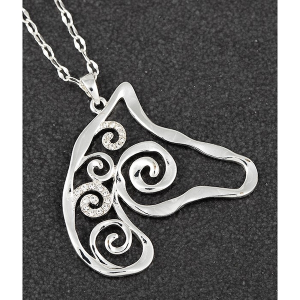 Artisan Horse Head Long Silver Plated Necklace