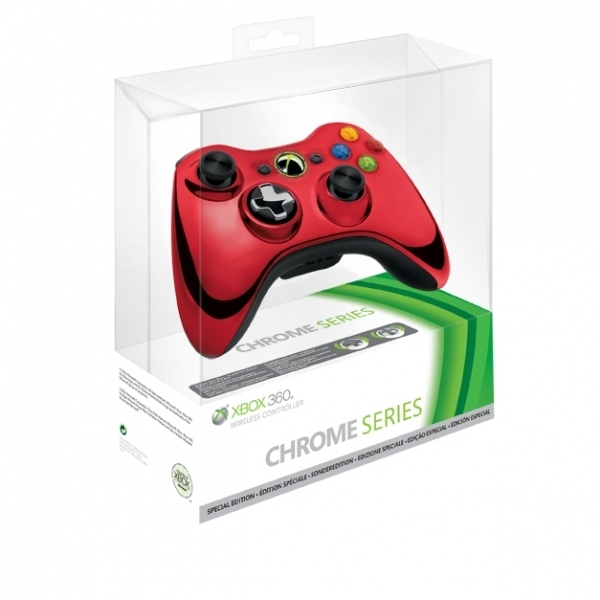 Ex-Display Official Microsoft Red Chrome Wireless Controller Xbox 360 Used - Like New