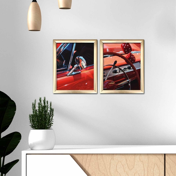 2ACT-005 Multicolor Decorative Framed MDF Painting (2 Pieces)