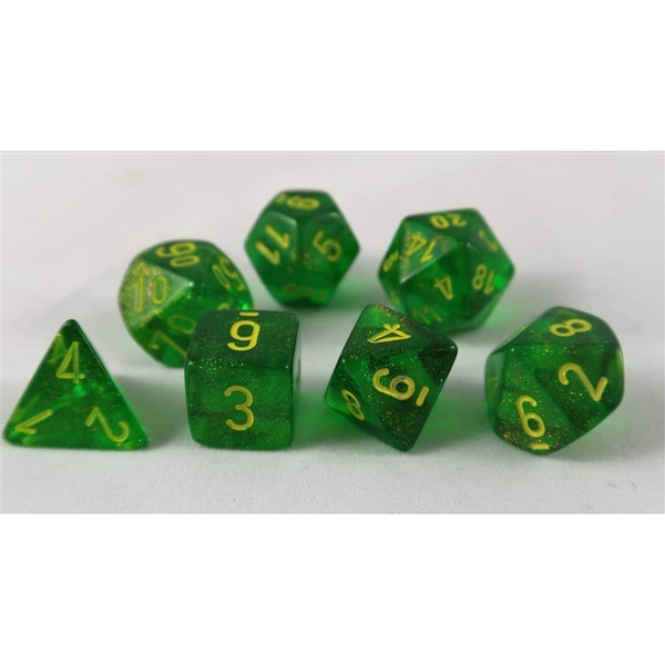 Chessex Poly 7 Dice Set: Borealis Maple Green With Yellow