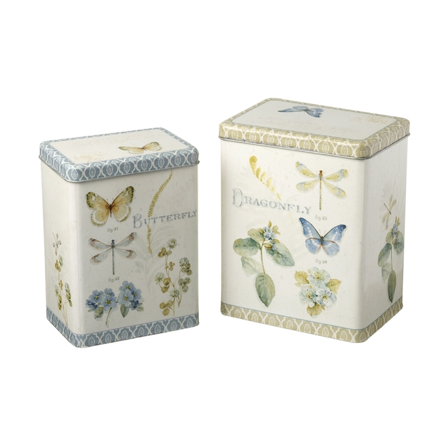Butterfly and Dragonfly Design Storage Boxes Set of 2 By Heaven Sends