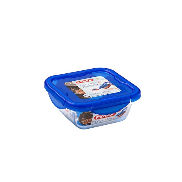 Pyrex Cook & Go Glass Square Dish with Lid 0.9L