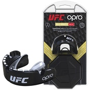 UFC Gold Braces Mouthguard by Opro Black/Silver Adult