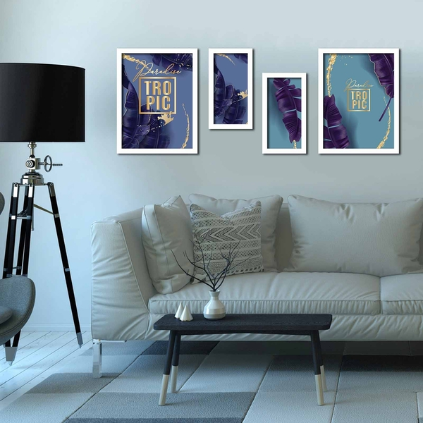 4P3040BCT014 Multicolor Decorative Framed MDF Painting (4 Pieces)