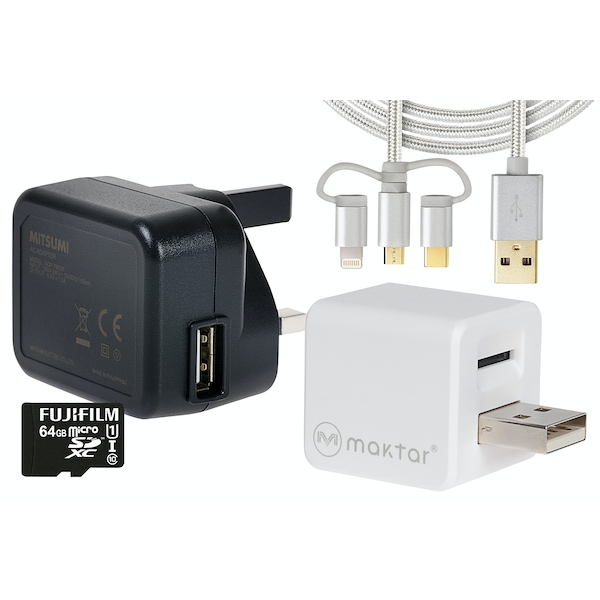 Maktar Qubii Auto Backup & Charging Kit for iPhone/iPad inc 3in1 Cable & 64GB UK Plug