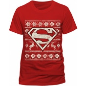 Superman - Fair Isle Logo Unisex Large T-Shirt - Red