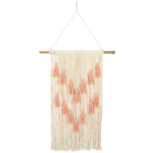 Coral Wall Hanging with Tassels