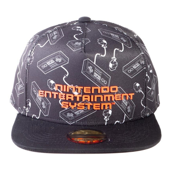 Nintendo - Nes Controllers All-Over Print With Logo Unisex Snapback Baseball Cap - Black