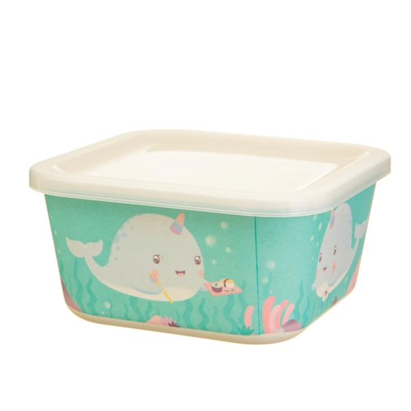 Sass & Belle Alma Narwhal Bamboo Square Lunch Box - Image 1